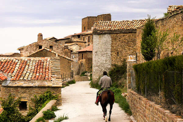 Rider in a Navarra village in Spain