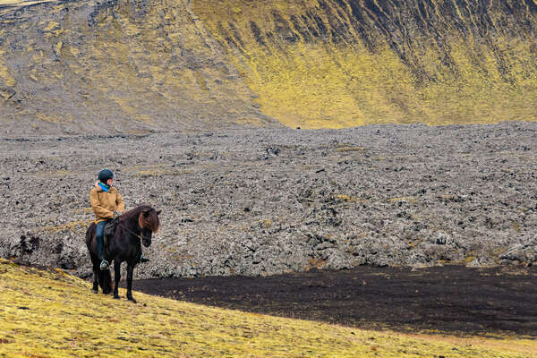 Rider on an icelandic horse in iceland