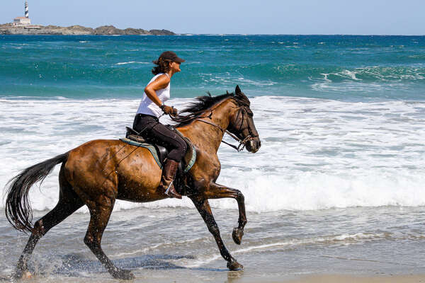 Rider on horseback cantering on a beach in Spain