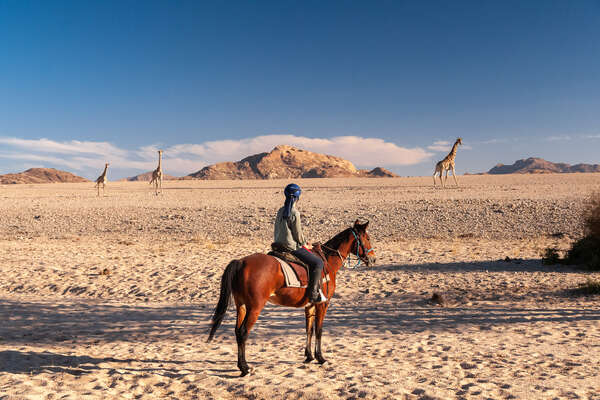 Rider watching giraffe in the Namib Desert