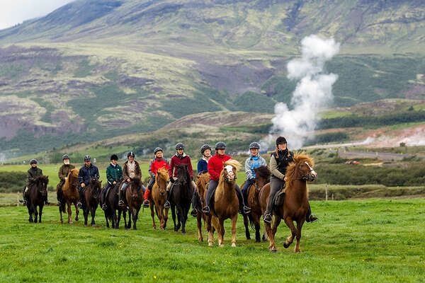 Riders and horses on a trail in Iceland
