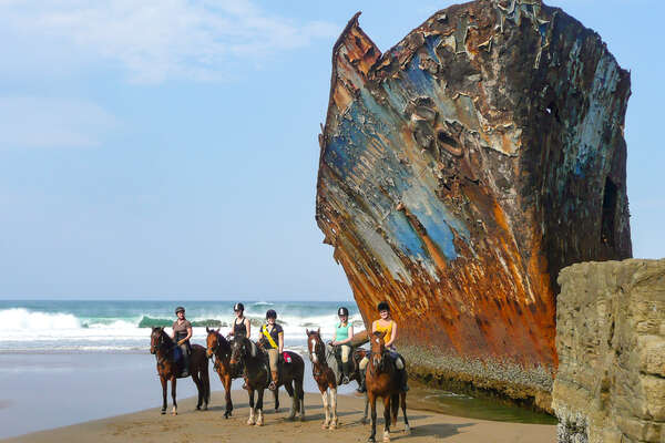 Riders and horses posing near a wrecked ship on a trail riding holiday