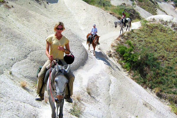 Riders and horses trail riding in Turkey