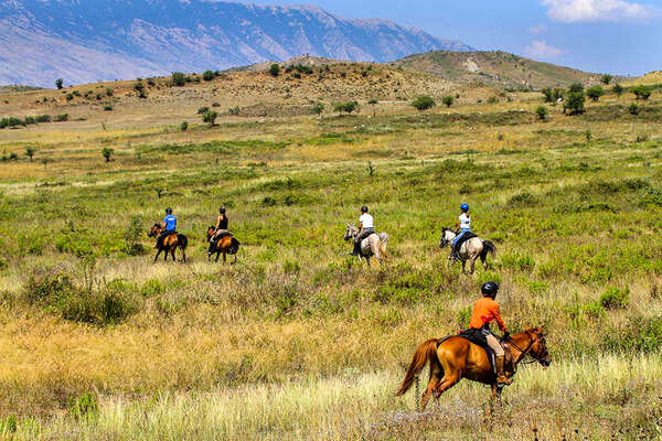 Riders at a canter in Albania