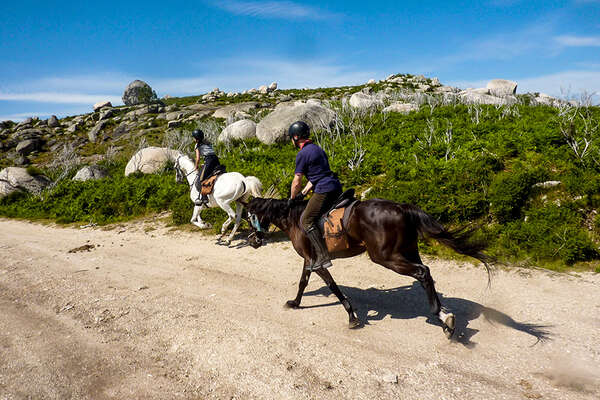 Riders cantering on a trail in Portugal