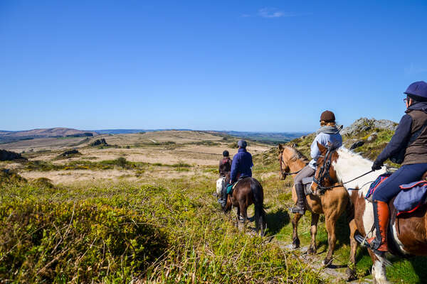 Riders following a trail in Brittany, France