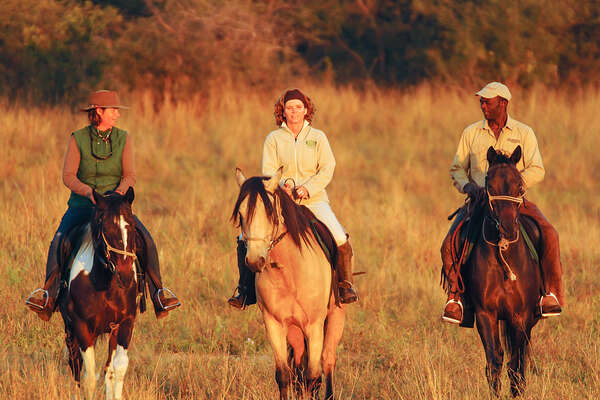 Riders in Hwange at sun set