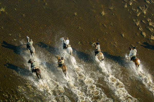 Riders in the floodplains of the Okavango Delta