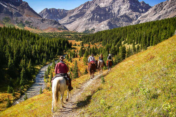 Riders in the Kananaskis, in western Canada