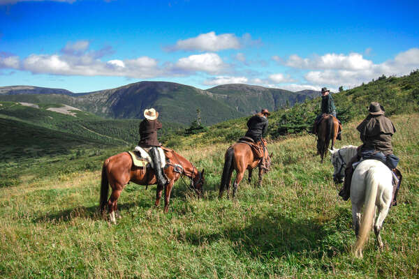Riders in the mountains of the Gaspe peninsula in Quebec