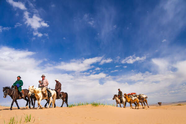 Riders on a trail ride in Mongolia
