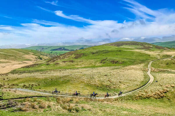 Riders on a trail riding expedition in Wales