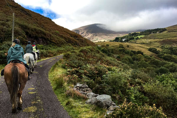 Riders on a trail riding holiday in Ireland, Ring of Kerry