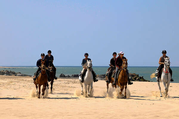 Riders on the beach in France, Atlantic coast