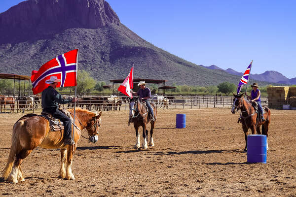 Riders playing mounted western games in Arizona at White Stallion ranch