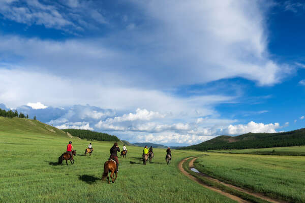 Riders ready to canter in Mongolia