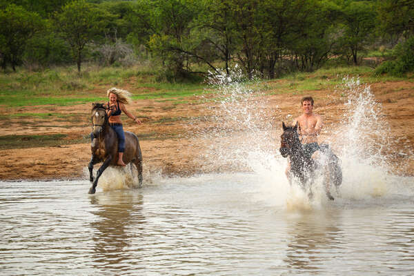 Riding in the dam at Ant's lodges in the Waterberg, South Africa