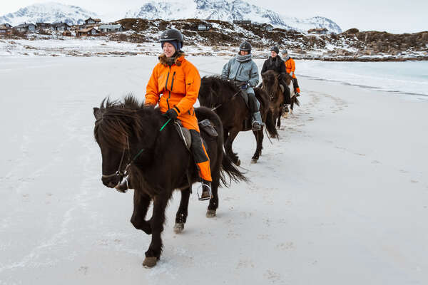 Riding in the winter on Vinje beach in Gimsøy