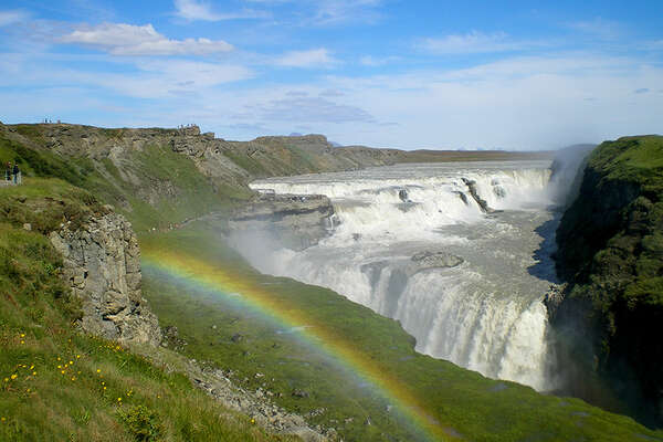 Summer riding trail and Gullfoss waterfalls