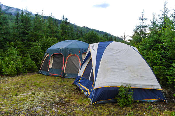 Tents during a trail riding holiday in Gaspe