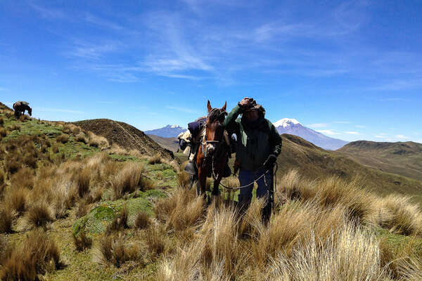 Trail riders and horses riding in Ecuador in the Avenue of Volcanoes