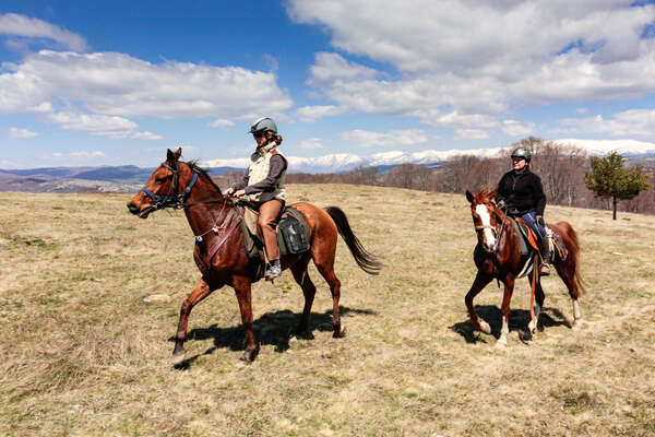 Trail riders in Bulgaria on a horseback vacation