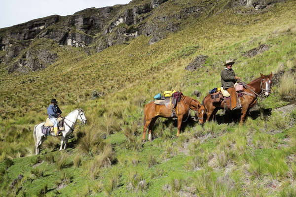 Trail riders in Ecuador