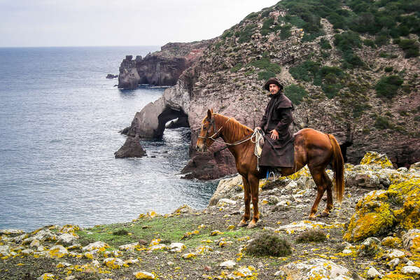 Trail riding guide standing with his horse for a photo during a trail riding holiday