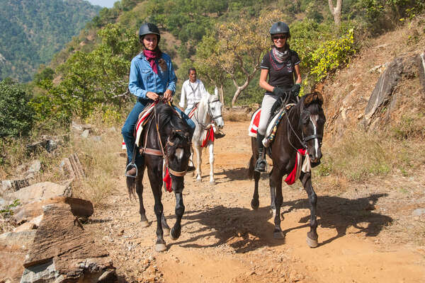 Trail riding in Rajasthan, with riders on Marwari horses