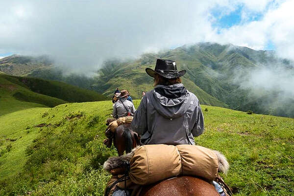 Trail riding in The High Andes Argentina