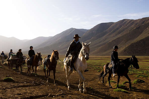 Trail riding in the High Atlas Mountains in Morocco