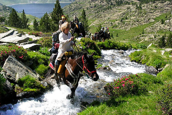 Watercourse crossing with a horse in the Pyrenees